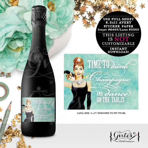 "Breakfast at Tiffany's  Champagne Labels - Audrey Hepburn breakfast at, bachelorette party, party printables, favors, 4x3"" {6/Per Sheet}"