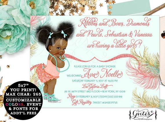 Coral Mint Green & Gold Baby Shower Printable Invitation, African American coed shower, ruffle baby invitation, diamonds and pearls. 7x5""