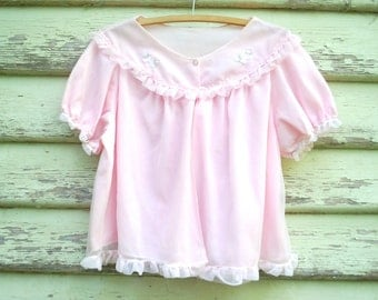 Vintage 70s Babydoll Nightie Top Lingerie Retro Sheer Blouse Lace Pastel Pink Tee Vtg 1970s Size S-L