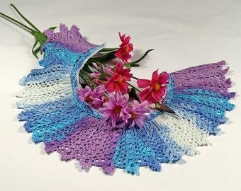 crocheted necklace, blue/purple farbender collar, collar crochet, lace collar, Peter Pan collar necklace, bib collar, detachable collar