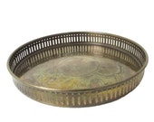 Vintage Mid-Century Etched Brass Round Gallery Serving Tray