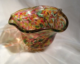 Multicolor Blown Glass Flutter Bowl.  Hand Blown Glass Art Bowl.
