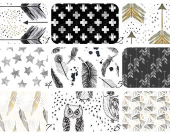CRIB Bedding - Stokke, Leander, 4moms, Mini Crib, Bassinet - Gold and Black - Water Color Arrows - Spoonflower - Stars, Arrows, Feather, Owl