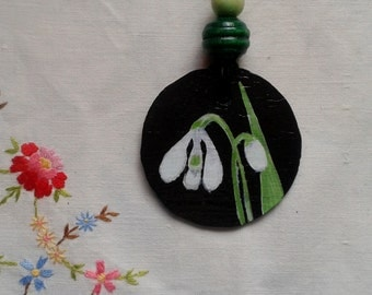 Snowdrops hand painted slate pendant necklace