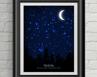 Under This Moon - Personalized Moon Phase Print - Custom Wedding gift, Birthday gift or Anniversary gift