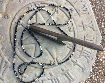 African waist beads belly beads black /silver  seedbeads choose size