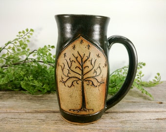 Tree of Gondor - Lord of the Rings - 16 oz - Black - Wheel Thrown and Hand Carved Coffee Cup