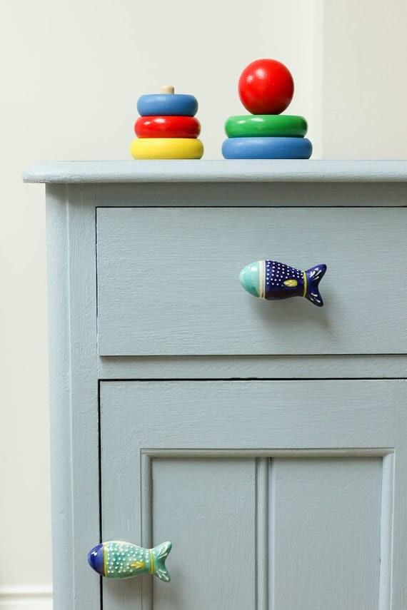 Fish ceramic furniture door knob for dresser drawers for Bedroom bureau knobs