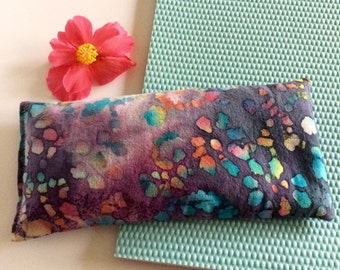 Lavender pillow, batik print, yoga savasana eye pillow