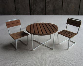 Vintage Dollhouse Patio Furniture, Wood and White Wire Table and Chairs, Miniature Porch, Deck, Outdoor Set, Doll House, 1970's, Picnic