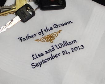 Personalized Father of the Groom Handkerchief Wedding Day Keepsake - Thread Born Memories