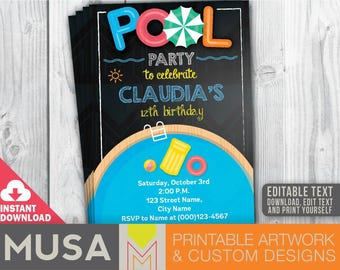 PRINTABLE / EDITABLE Pool Party invitation