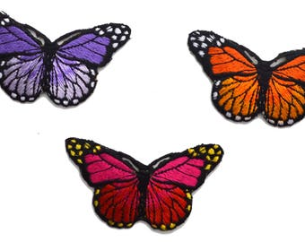3 pc Purple Red Orange Butterflies Colored Variety Embroidered Iron on Patch Applique PR41717
