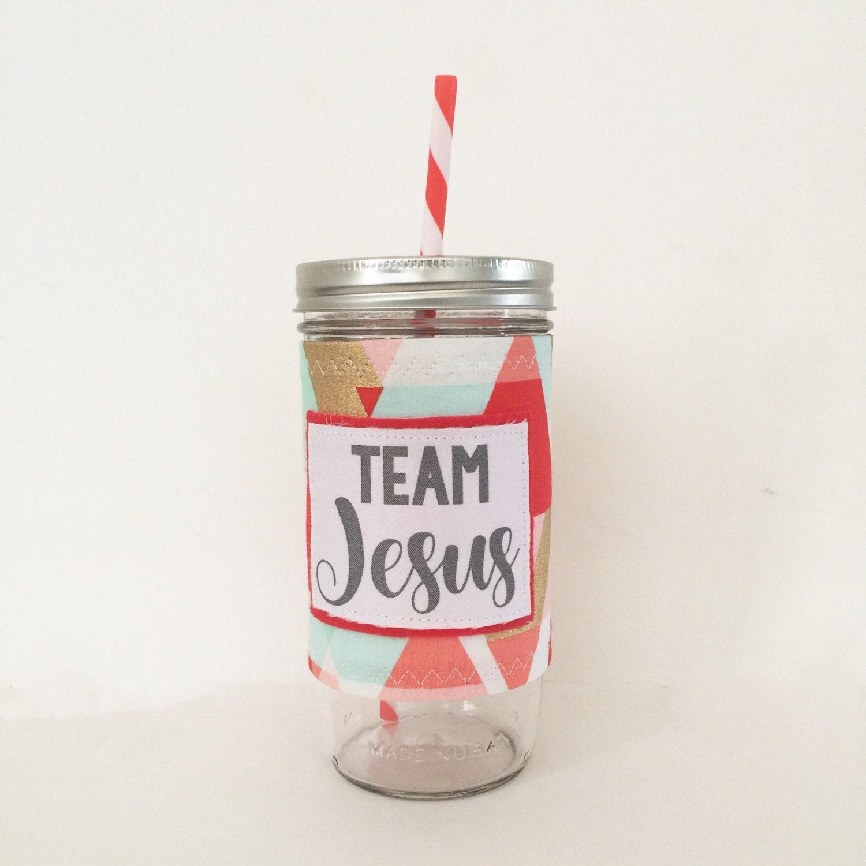 Team Jesus- Geometric Mason Jar Tumbler 24oz with Insulated Mason Jar Cozy BPA Free Straw