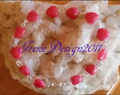 Red Jade Hearts bracelet by IreneDesign2011