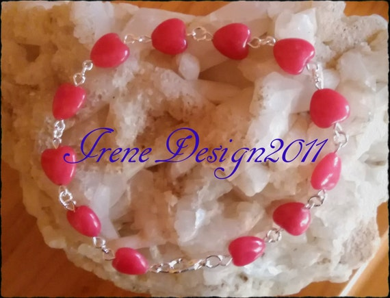 Handmade Silver Bracelet with Red Jade Hearts by IreneDesign2011