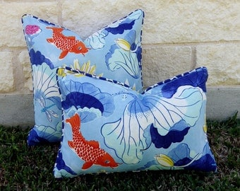 Blue and White Outdoor Pillow Cover-Blue and Orange Outdoor Pillow Cover - Koi Fish Outdoor Pillow Cover-Waverly Lotus Lake Cobalt Pillow