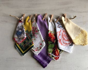 7 Vintage Assorted Handkerchiefs