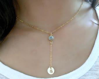 Personalized Y Necklace monogram necklace monogram initial monogram jewelry Aquamarine Necklace Aquamarine Jewelry letter necklace 14k gf