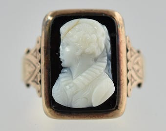 Antique Victorian 14k Yellow and Rose Gold Hardstone Cameo Ring Size 9.75
