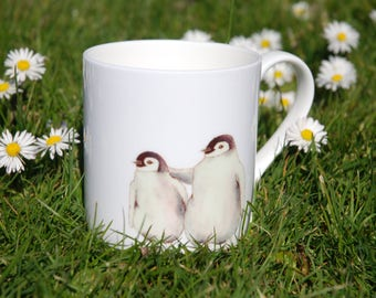 China penguin mug based on original watercolour painting, beautiful winter theme