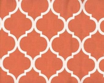 Quatrefoil Fabric White on Burnt Orange 100% Cotton