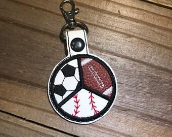 SPLIT Baseball Softball Football Soccer Appliqued -  In The Hoop - Snap/Rivet Key Fob - DIGITAL Embroidery Design