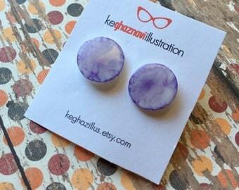 Shrink plastic earrings, lavender earrings, pastel purple earrings, abstract earrings, tie dye earrings, gift for her, wearable art, circle,