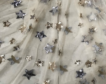 Free Shipping!!1Yard Beige Sequin Star Lace Fabric,Embroidery Sequin Fabric,Spring Flower Lace Dress,Bridal Wedding Dress Fabric by the Yard