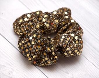 Gouden pailletten haar scrunchie, goud paillette haar stropdas, partij haartoebehoren, scrunchy, Handmade gift voor haar partij fashion, gouden metallic
