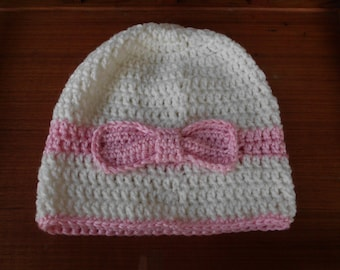 Crochet Hat ~ Pink & White With Pink Bow Embellishment ~ Size Teen / Older Child ~ Ready To Ship!
