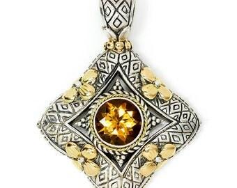Eleganza Citrine Pendant in Sterling Silver & 18kt Yellow Gold November Birthstone