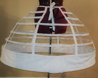 "Ivory Sale 7 Hoop 126"" Reproduction Civil War Cage Crinoline Petite Regular Ladies Period Correct Hoop Skirt Gown 1855 1856 1857"