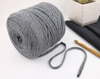 Dark gray jersey yarn • T-shirt yarn • Gray fabric yarn • Jersey crochet yarn • Fabric knitting yarn • Chunky yarn • Dark gray Zpagetti yarn