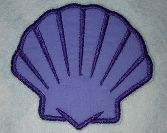 Dark Purple  Sea Shell Clam Shell Iron on No Sew Embroidered Patch Applique