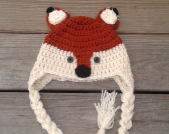 Fox hat,  crochet fox hat, baby fox hat, furry fox hat, toddler fox hat, child fox hat, baby girl or boy fox hat