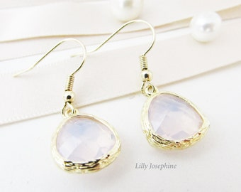 Pastel Pink Faceted Crystal and Gold Dangle Earrings, Pale Pink Wedding Jewellery, Pink Bridesmaids Earrings, Small Pink and Gold Earrings