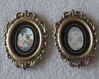 Vintage Set of 2 Hollywood Regency Gold Resin Ornate Frames, Oval Frames, Gold Oval Frames, Vintage Wall Hangings