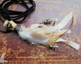 Earth Element Bone and Feather Necklace