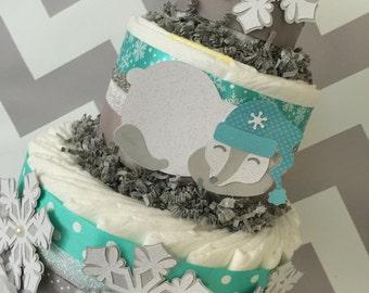 Winter Snowflake Diaper Cake, Polar Bear Centerpiece, Snowflake Baby Shower Decoration