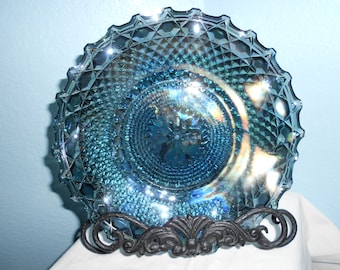 Blue Rainbow Carnival Glass Plate
