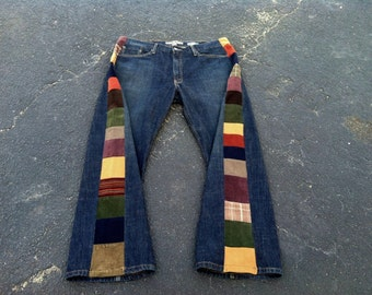 MENS PATCHWORK JEANS Handmade Upcycled Jeans Hippie Patchwork Pants Mens Jeans Mens Pants 41 x 31