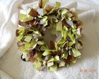 Brown and Lime Green Mix Handcrafted Raggy Wreath