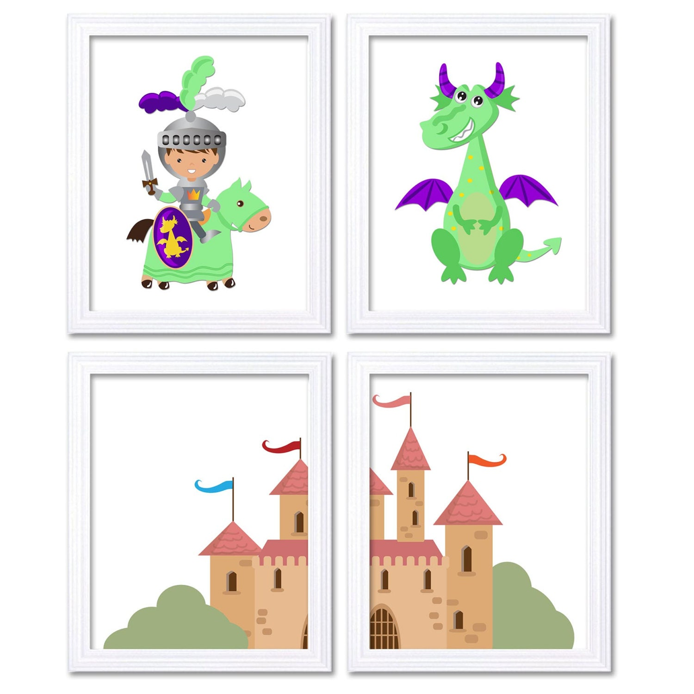 Fairy Tale Nursery Art Child Baby Set of 4 Art Prints Lime Green Purple Rose Pink Knight Dragon Cast