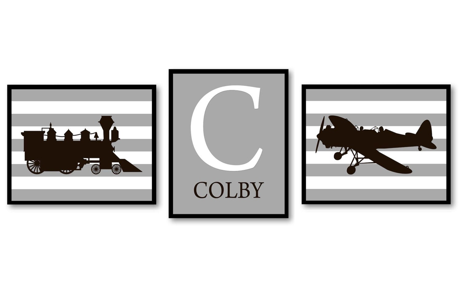 Black White Grey Antique Old Vintage Transportation Set of 3 Prints Airplane Train Personalized Name