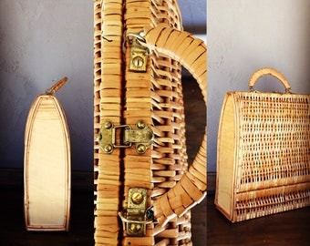 Large Wicker Sewing Basket // Handbag