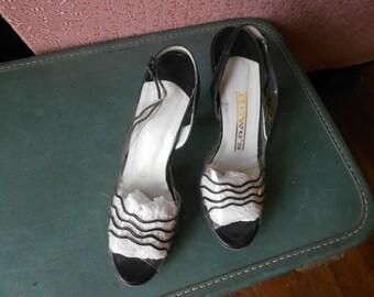 Vintage 60s High Heels, Black/Clear Heels, Slingback Heels - Size 7 1/2