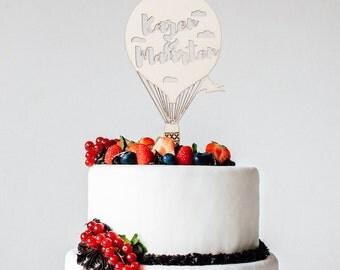 Cake Topper - Taart Topper - Custom Made - Wood - Hot air Balloon - Wedding - Mr & Mrs - Last Name - Birthday - Birth - Rustic