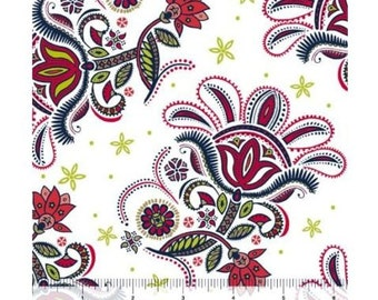 Red, Black Floral on White, Green Accent, Ceylon, Quilting Treasures (By 1/2 yd)