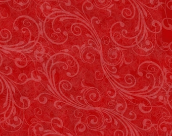 Scrolls, Swirls on Red, Holiday Homecoming, Henry Glass, Christmas (By 1/2 yd)
